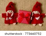 Two Cute Tiny Cloth Dolls With...