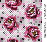 seamless pattern with image of... | Shutterstock .eps vector #773665462