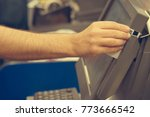 credit card payment terminal in ...   Shutterstock . vector #773666542