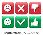 set red and green icons buttons.... | Shutterstock .eps vector #773670772