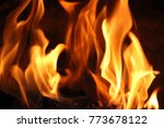fire flames and coals on black... | Shutterstock . vector #773678122