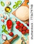 vegetarian pizza ingredients ... | Shutterstock . vector #773679748