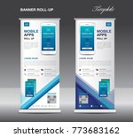 mobile apps roll up banner... | Shutterstock .eps vector #773683162