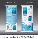 mobile apps roll up banner...   Shutterstock .eps vector #773683165