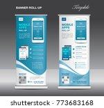 mobile apps roll up banner... | Shutterstock .eps vector #773683168