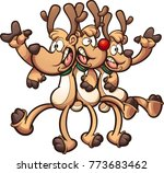 singing christmas reindeer.... | Shutterstock .eps vector #773683462