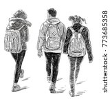 friends students go to classes | Shutterstock . vector #773685358