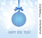 blue knitted christmas ball... | Shutterstock .eps vector #773686312