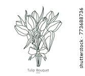 vector tulip bouquet icon....