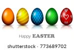 row of realistic easter eggs... | Shutterstock .eps vector #773689702