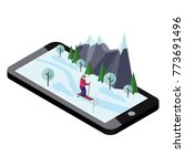 isometric woman skiing. mobile... | Shutterstock .eps vector #773691496