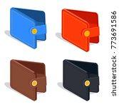 leather wallet isometric vector ...   Shutterstock .eps vector #773691586