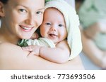 mom hugs her little cutest baby ... | Shutterstock . vector #773693506