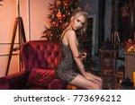 beautiful luxury woman drink... | Shutterstock . vector #773696212