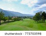 a scene of golf course fairway... | Shutterstock . vector #773703598