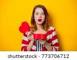 portrait of redhead woman...   Shutterstock . vector #773706712