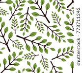 seamless pattern with leaves | Shutterstock .eps vector #773711242