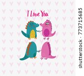 lovely  hand drawn card with... | Shutterstock .eps vector #773715685