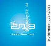 new year 2018 cyberspace... | Shutterstock .eps vector #773717356