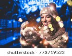pretty girl on the street with... | Shutterstock . vector #773719522