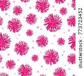 vector pink pompoms seamless... | Shutterstock .eps vector #773723452