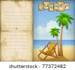 vacation background with chaise ... | Shutterstock . vector #77372482
