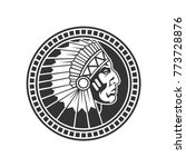 stamp of native american male... | Shutterstock .eps vector #773728876
