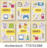 it geeks vector brochure cards... | Shutterstock .eps vector #773731588