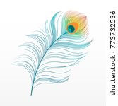 peacock plume. colorful feather ... | Shutterstock .eps vector #773732536