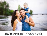 beautiful young family on...   Shutterstock . vector #773734945