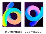 placards with abstract liquid... | Shutterstock .eps vector #773746372