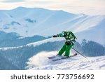 good skiing in the snowy... | Shutterstock . vector #773756692