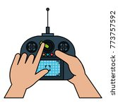 user hand with drone remote... | Shutterstock .eps vector #773757592