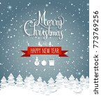 christmas greeting card on blue ... | Shutterstock .eps vector #773769256