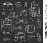 hand drawn doodle baggage icons ... | Shutterstock .eps vector #773774212