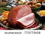 close up of homemade ham sliced ...   Shutterstock . vector #773775658