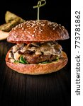 cheese burger with grilled meat ... | Shutterstock . vector #773781862