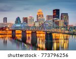 Small photo of Louisville, Kentucky, USA skyline on the river.