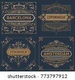 set of four vintage designs | Shutterstock .eps vector #773797912