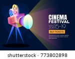 vector glowing neon cinema... | Shutterstock .eps vector #773802898