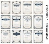 set of vintage frames with... | Shutterstock .eps vector #773803015