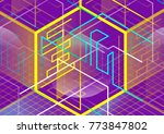 abstract linear 3d cube... | Shutterstock .eps vector #773847802