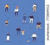 people walking in the park... | Shutterstock .eps vector #773849512