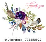 watercolor floral boho bouquet  ... | Shutterstock . vector #773850922