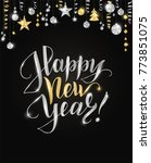 happy new year card with hand... | Shutterstock .eps vector #773851075