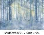 watercolor landscape with mist... | Shutterstock . vector #773852728