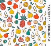 seamless background with fruits.... | Shutterstock .eps vector #773857552