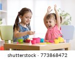 children playing with plastic... | Shutterstock . vector #773868472