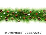 christmas card  realistic green ... | Shutterstock . vector #773872252