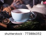 a cup of tea ans chineese... | Shutterstock . vector #773886352